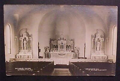 RPPC Garden City Kansas Catholic Church Interior 1918 AZO Stamp Box