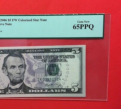 2006 $5 -Frn ****star ⭐️ ****colorized Note,certified By Pcgs Gem New 65 Ppq.