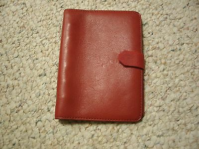Filofax Pocket Executive Red Deluxe Leather Mini Planner 6-ring Binder Organizer
