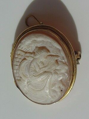 Vintage Vermeil 800 Sterling Silver Cameo Pin Pendant Vtg Woman Playing Harp