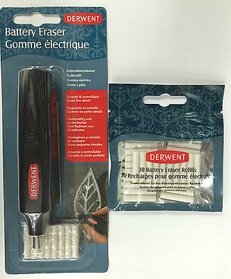 Derwent Battery Operated Eraser + Eraser Refills (30pk)
