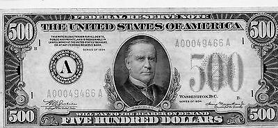 1934 A THE USA Federal Reserve Note $500 Five Hundred Dollar Bill BOSTON