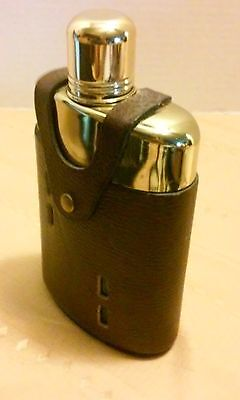 """Bottle Flask Clear Glass 5"""" x 3"""" Leather, GOLD COLOR METAL. ANTIQUE. 12OZ"""