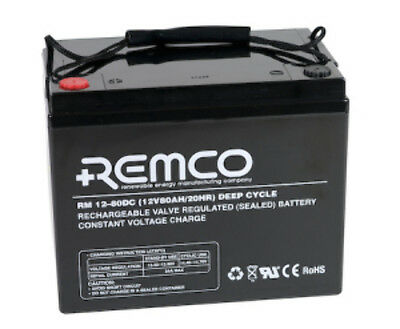NEW REMCO AGM BATTERY 12V80Ah RM12-80