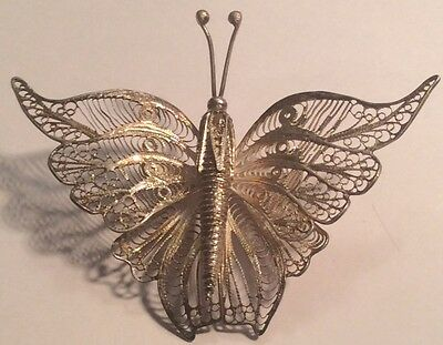 "Early Antique Ca. 20s-30s Silver Tone Filigree 2.75"" x 2"" BUTTERFLY Brooch Pin"