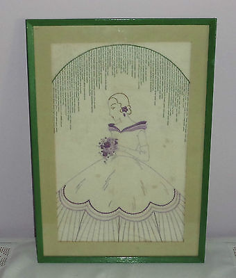 Vintage/antique Embroidered Art Deco/crinoline Lady - Green Frame