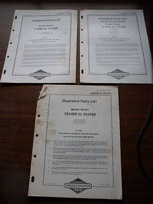 3 x Briggs & Stratton Illustrated Parts List 111200-299, 131400-499, 252400-499