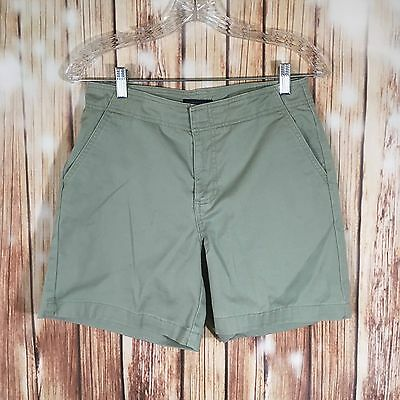 Dockers Women's Casual Solid Olive Green Mid-Rise Shorts Above Knee Size 4