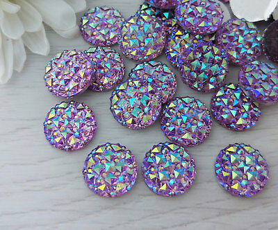 12mm Purple Sparkly Iridescent Cabochons for Earrings and Craft 10Pcs - FBC110