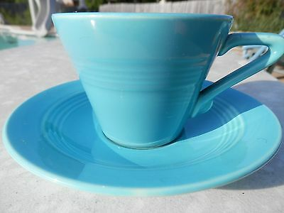 Homer Laughlin Vintage Harlequin Turquoise Tea Cup And Saucer