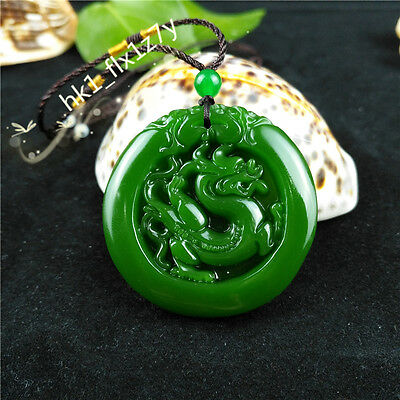 Chinese Green Jade Dragon Necklace Pendant Fashion Charm Jewelry Lucky Amulet
