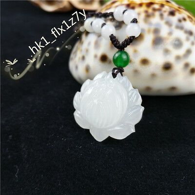 Natural White Jade Lotus Necklace Pendant Fashion Charm Jewelry Lucky Amulet Hot