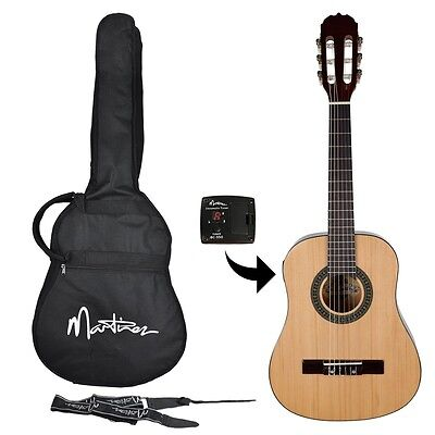 Martinez Classical Guitar Pack 1/2 Size Nylon String Beginner Natural Gloss