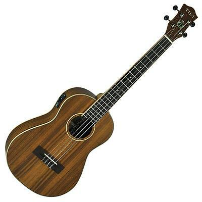 New Tiki Koa Wood Top Electric Baritone Uke Ukulele with Pickup & Gig Bag
