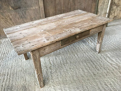 Vintage French Coffee Table Rustic Antique Pine Table With Drawer