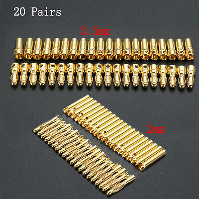 40PCS 2mm 3.5mm Gold Male Female Bullet Banana Plug Connector for RC Battery ESC