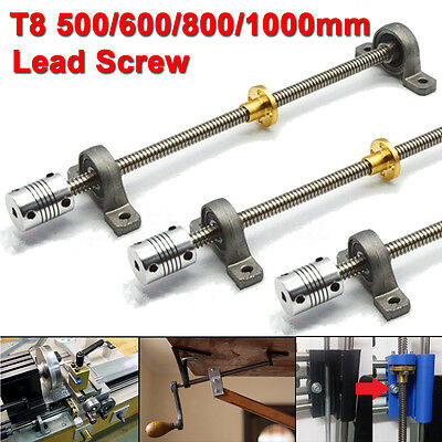 3D Printer T8 Trapezoidal Lead Screw Rod W/ Nut Coupling Shaft Bearing Mount Set