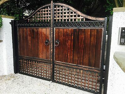 Wrought Iron / Wooden Infill Drieway Gates