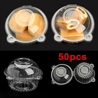 50x Clear Plastic Cup Single Muffin Pods Dome Cases Single Holders Cake Boxes