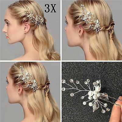 3X Pearl Flower Crystal Hair Pins Vintage Bridesmaid Clips Wedding Bridal Prom