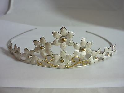 Stunning & Unique Vintage Sterling Silver & Enamel Flower Design Tiara