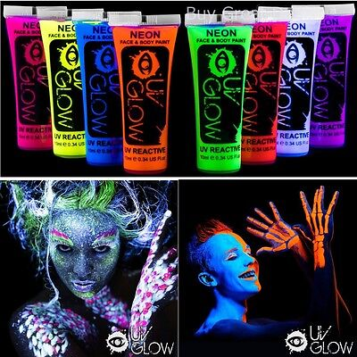 UV Glow Blacklight Face and Body Paint 0.34oz - Set of 8 Tubes-Neon Fluorescent