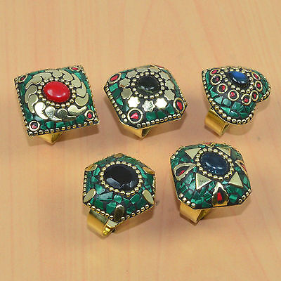 Wholesale 5Pc 925 Tibetan Silver & Brass Coral & Mix Stone Adjustable Ring Lot