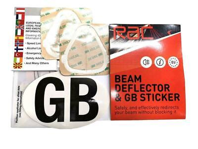 RAC Headlamp / Headlight Beam Deflectors & Convertors, GB Sticker & EU Guide