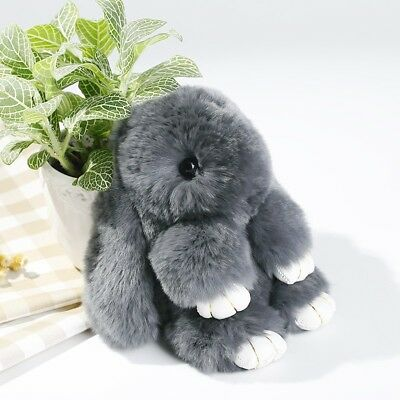AU Rex Bunny Rabbit Fur Pom Ball Doll Key Ring Keychain Pendant Handbag Decors