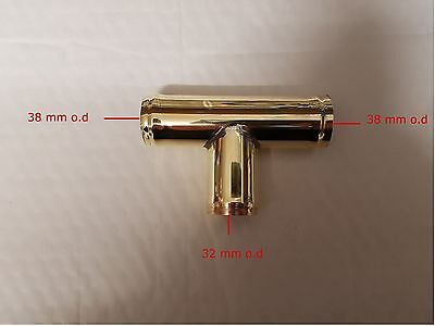 38 mm x 32 mm OD Brass Pipe T Piece/ Radiator Hose Connector / Joiner