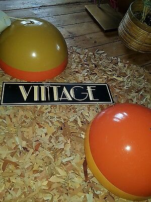 Vintage retro orange stylish mid century modern pair ceiling lights light metal