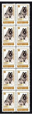 Keeshond Dog Mans Best Friend Strip Of 10 Mint Stamps#1