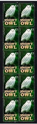 Snowy Owl Strip Of 10 Mint Vignette Stamps 4