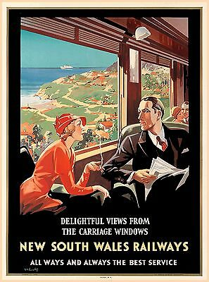 New South Wales Railways Australia Vintage Railroad Travel Advertisement Poster