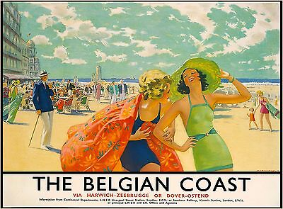 The Belgian Coast Belgium Europe Vintage Railroad Travel Advertisement Poster