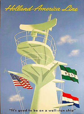 Holland America Line Oceanliner Vintage Cruise Ship Travel Poster Advertisement