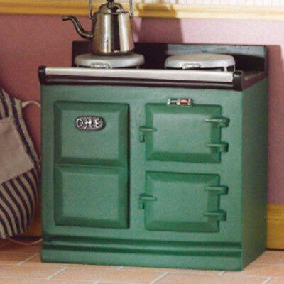 Dolls House Miniature 1:12th Scale Green Aga - Style Stove