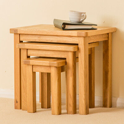 Roseland Oak Nest of Tables /Solid Oak Nest of 3 Tables / Solid Wood Side Tables