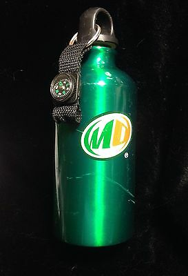 Mountain Dew Metal Water Bottle Promo Item with Compass and Carabiner - Used