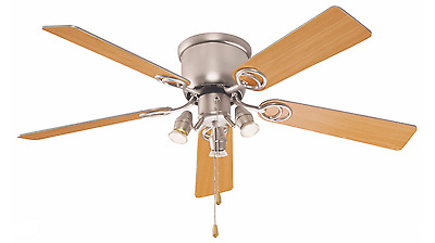 Ceiling Fan Light Stainless Steel Pull Cord Control Copper & Iron 3Lamps