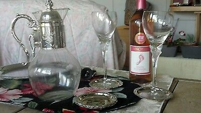 Vintage wine decanter with silver plate handle, neck and lid. Floral etching