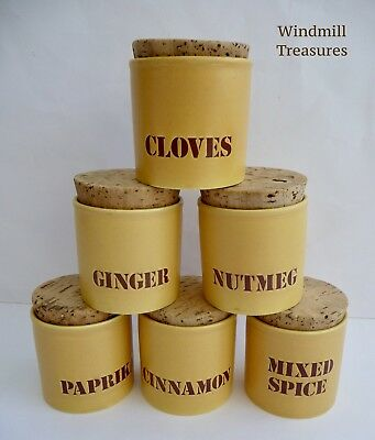 Set Of 6 Kiln Craft Spice Jars In Saffron Yellow - Fab Condition