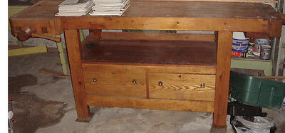 Antique Industrial Work Bench~Hand Crafted~Signed