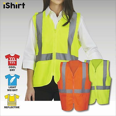 Hi Vis Vest Safety Vest Reflective Tape Zip Up And Pocket Safety Workwear
