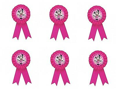 Pack of 6 Disney Minnie Mouse Award Ribbon - Rosettes - Party Accessories