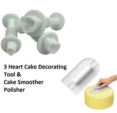 3 Heart Cake Cup Decorating Sugercraft Tool Plunger Cutter + Smoother Polisher