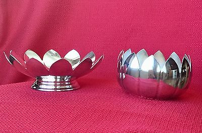 Vintage Reed & Barton - 2 Lotus Flower Dishes 3002 With Original Foil Stickers