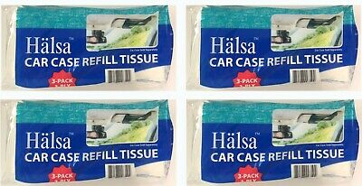 4 pack of Halsa Facial Visor Tissue Refill for Tempo Car Visor Holder 12 Refills