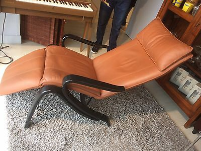 Vintage Scandinavian Leather Bentwood Reclining Chair Mid Century