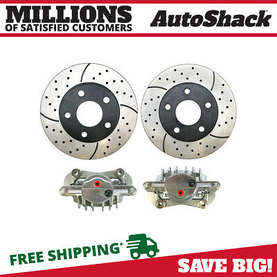 Front Set of Drilled & Slotted Rotors & Brake Calipers fits 97-05 Chevy Pontiac